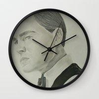 leonardo dicaprio Wall Clocks featuring Jay Gatsby - Leonardo DiCaprio by Moira Sweeney