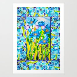 Blue Poppies 2 with Border Art Print
