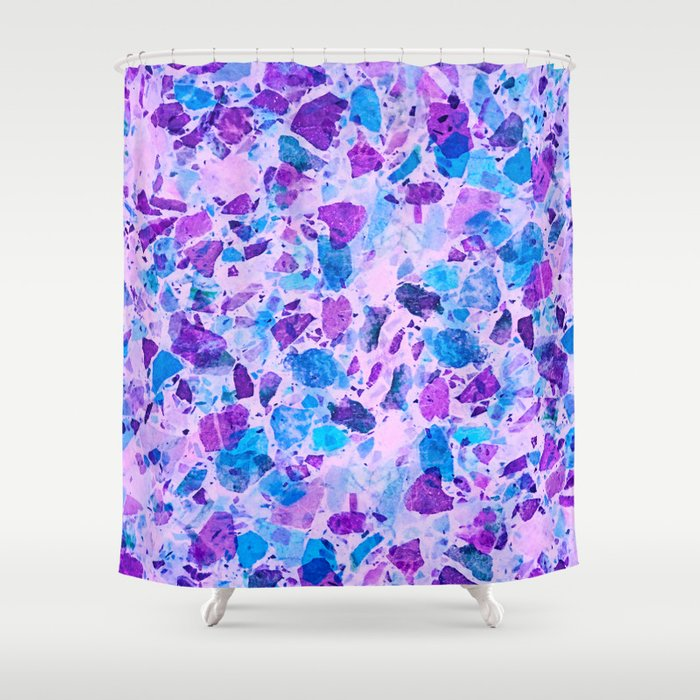 Galactic Ultra Violet Terrazzo shower curtain by Dominique Vari