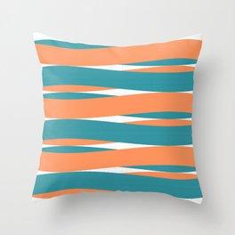 Blue Orange White Curves Throw Pillow