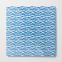 graphic pattern blue sea waves vector illustration Metal Print