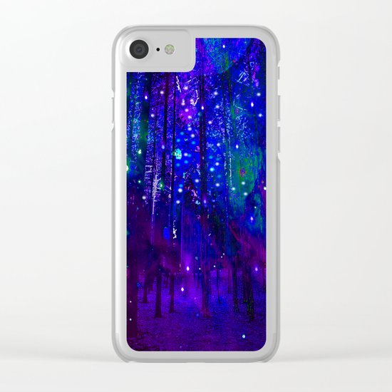 TREES MOON AND SHOOTING STARS Clear iPhone Case