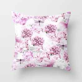 ORCHIDS ROSES MAGNOLIAS and Dragonflies Throw Pillow