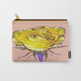 Yellow-gold Rose Asian Style Pattern Abstract Carry-All Pouch