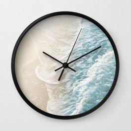 Soft Teal Gold Ocean Dream Waves #1 #water #decor #art #society6 Wall Clock