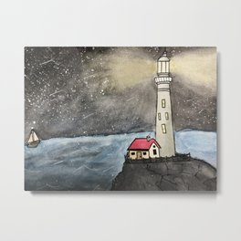 Light House at Night Metal Print