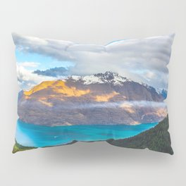 Beautiful Mountain Range Landscape Photo Blue Turquoise Waters Green Pine Trees Grey Clouds Pillow Sham