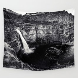 Hidden Waterfall Black and White Wall Tapestry