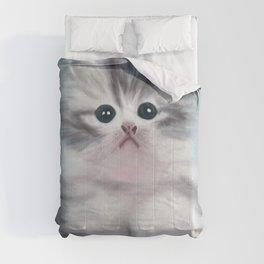 Cute Grey Kitten with Innocent Eyes Comforters