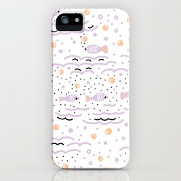 Little Lilac Fish in the Sea , Waves and Water with Tiny School of Fishes Pattern iPhone Case
