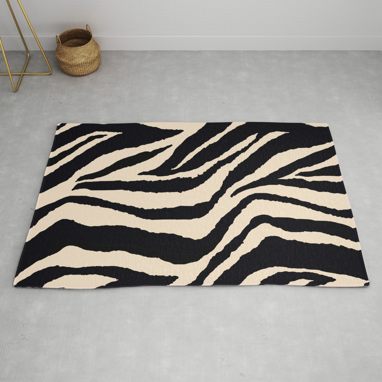 Zebra Animal Print Black And Off White