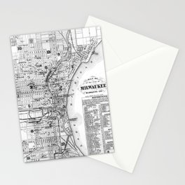 Vintage Map of Milwaukee Wisconsin (1878) BW Stationery Cards