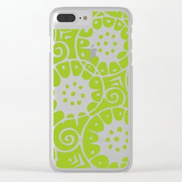 Lime Swirl Pattern Clear iPhone Case