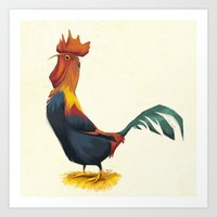 rooster Art Prints featuring Rooster by Melissa van der Paardt