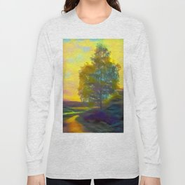 Lonely birch in autumn rural road Long Sleeve T-shirt