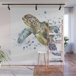Abstract Watercolor Sea Turtle on White 2 Minimalist Coastal Art - Coast - Sea - Beach - Shore Wall Mural