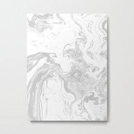 Marble grey 4 Suminagashi watercolor pattern art pisces water wave ocean minimal design Metal Print