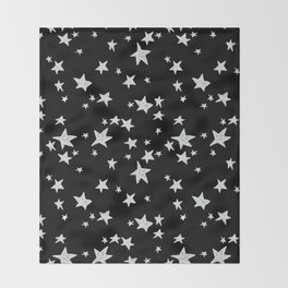 Linocut black and white stars outer space astronauts minimal Throw Blanket