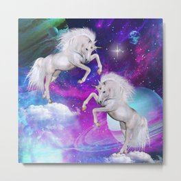 space unicorns v Metal Print