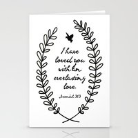 bible verse Stationery Cards featuring Everlasting Love Biblical Quote, Love Bible Quote, Jeremiah Verse  by Jess