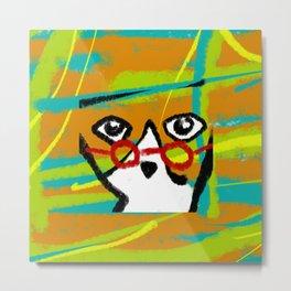 Red glasses cat Metal Print