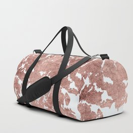 Stylish white rose gold modern marble Duffle Bag