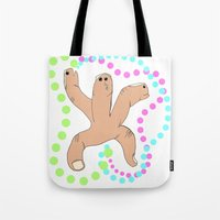 hydra Tote Bags featuring Finger Hydra by Of Lions And Lambs