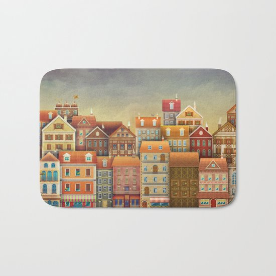 Illustration of  cute houses in sky Bath Mat