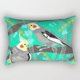 Cockatiels in Green Rectangular Pillow