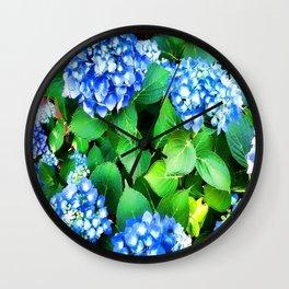 Spring In The Air - Blue Hydrangea Wall Clock