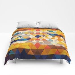 Geometric Triangle - Ethnic Inspired Pattern - Orange, Blue Comforters