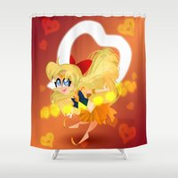 sailor venus Shower Curtains featuring Sailor Venus by Eileen Marie Art