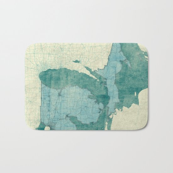 Michigan State Map Blue Vintage Bath Mat