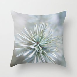 pine needles in blurry green shades Throw Pillow