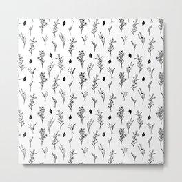 ink drawing floral pattern illustration line art Metal Print