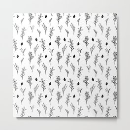 ink drawing floral pattern illustration line art Metal Print