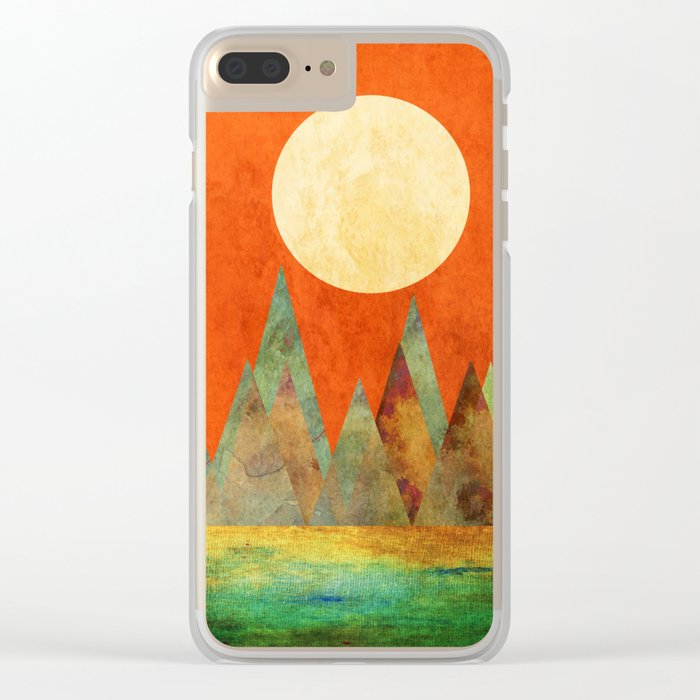 Many Moons Ago, Abstract Landscape Art Clear iPhone Case