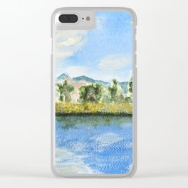 wooden bridge on a lake Clear iPhone Case