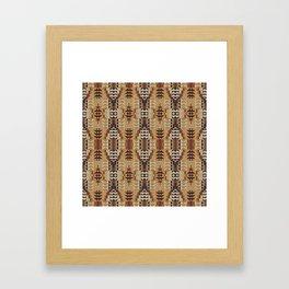 Orange Khaki Dark Caramel Coffee Brown Rustic Native American Indian Mosaic Pattern Framed Art Print