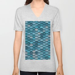 Luxury Turquoise Mermaid Sparkling Glitter Scales - Mermaidscales Unisex V-Neck