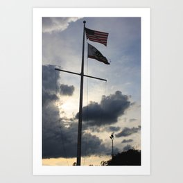 U.S. and California State Flag in Cloudy Sun Set Art Print