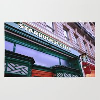 starbucks Area & Throw Rugs featuring Starbucks Coffee by Giada Ciotola by Giada Ciotola