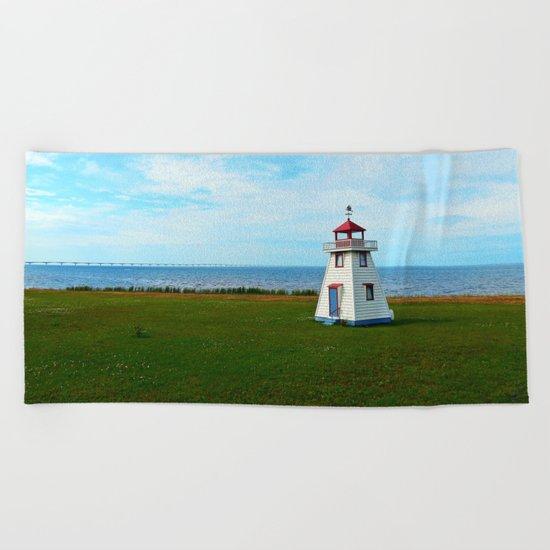 Tiny Lighthouse and Giant Bridge Beach Towel