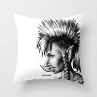warcraft Throw Pillows featuring Punk Troll by Georgia Goddard