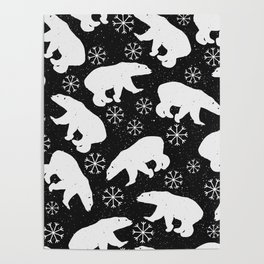 Polar Bears and Snowflakes - black Poster