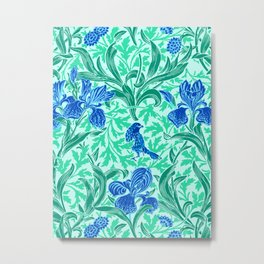 William Morris Irises, Cobalt Blue, Aqua and Teal Metal Print
