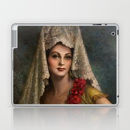Spanish Beauty with Lace Mantilla and Comb by Jesus Helguera Laptop & iPad Skin