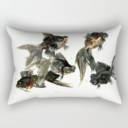 Black Moor, Feng Shui Art, design black fish art, aquarium Rectangular Pillow