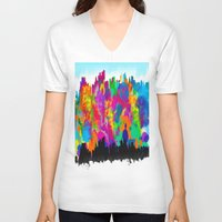 cityscape V-neck T-shirts featuring CityScape by Artbymaritza