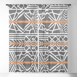 Tribal ethnic geometric pattern 022 Sheer Curtain